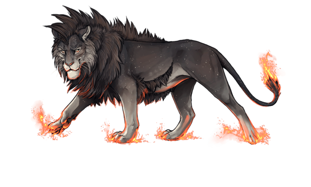 A starry-pelted lion with a pointy mane and a huge chin is smirking at you.  His paws and tail tip are alight with a magical fire that does not seem to burn him.