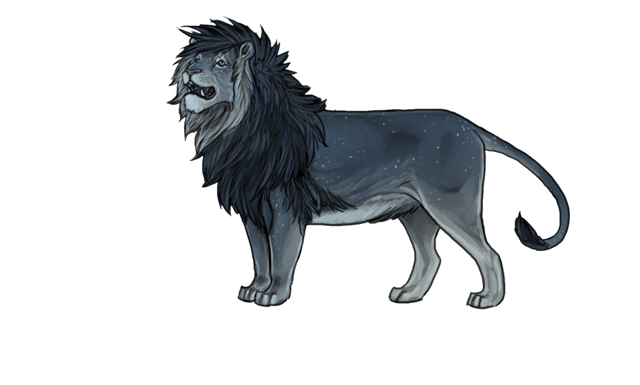 Apedemak is facing up towards the night sky, his mouth open as he chatters.