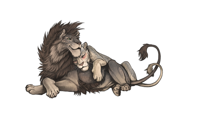 A blushing, smiling Menhit is snuggling up on Apollyon from behind.  Their tails are intertwined.