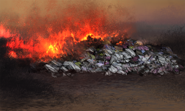 A massive pile of trash has been dumped out in the grasslands.  It has been set on fire, and the fire is quickly spreading.