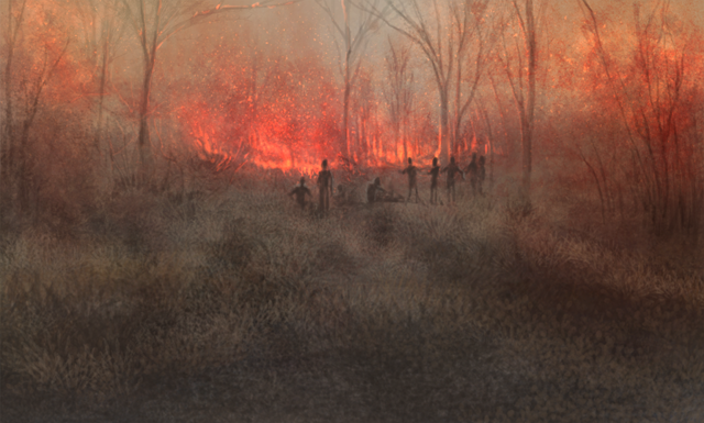 A large group of humans has set fire to a nearby forest.  They stand around to watch the fire consume the trees and bush.