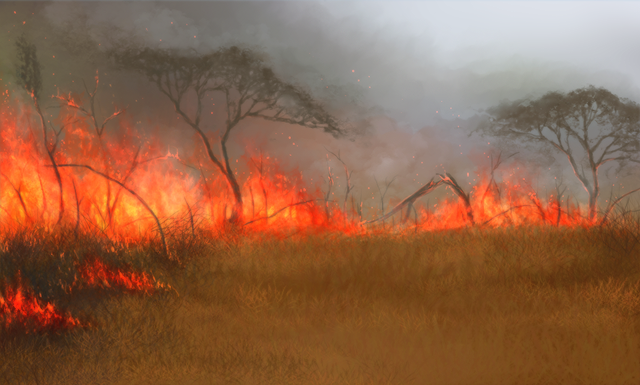 A huge, smoky wall of fire has taken over the surrounding grasslands.