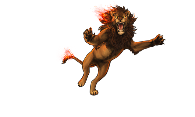 A male lion pounces towards you.  His mane and tail are on fire, and he looks frantic.