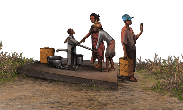 Four humans are gathered around a cheetah.  The cheetah appears to be unconscious and has a dart in its side.