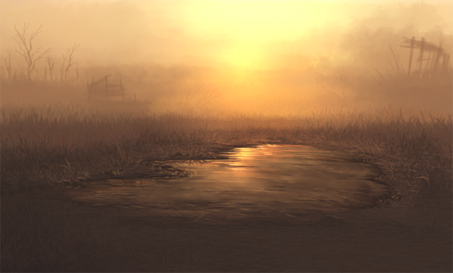 An artificial waterhole sits alone within plains.  The sun is setting and the air is hazy, creating a beautifully sad, orange, smoky scene.