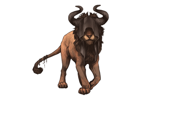 A strange lion approaches you.  His coat is coloured in dusty orange tones.  His eyes are obscured by a black hood, donned with buffalo horns.  He seems to be smiling.
