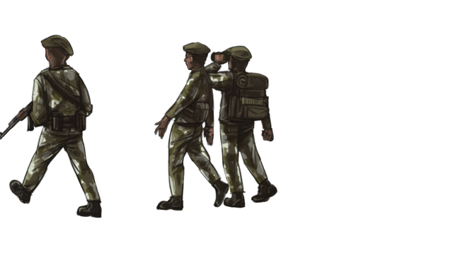 Three men wearing camouflage and berets are scouting for water.