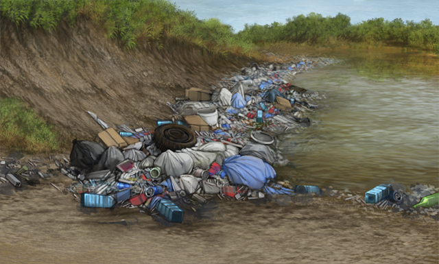 A river bank is polluted with garbage from humans.  It's hard to find a clear spot to drink water from.