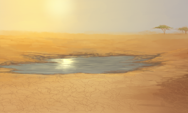 Within a dry, desert landscape, a very small waterhole is quickly evaporating.