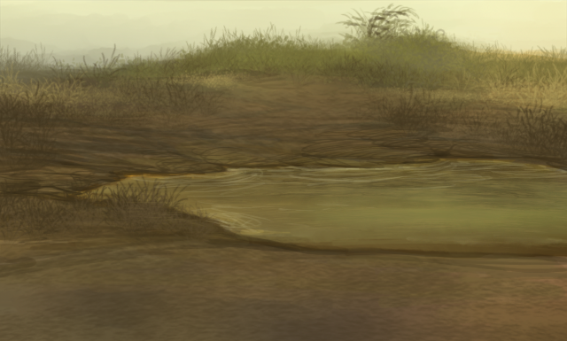 Barren lands reveal a muddy waterhole tinted green and brown.