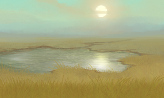 Within a grassy field, a small waterhole thrives, fed by a thin stream.