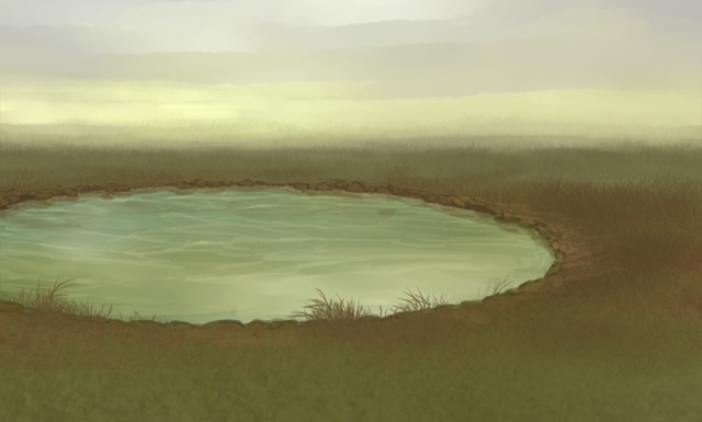 An artificial waterhole, shaped in a perfect circle, sits in the middle of grasslands.