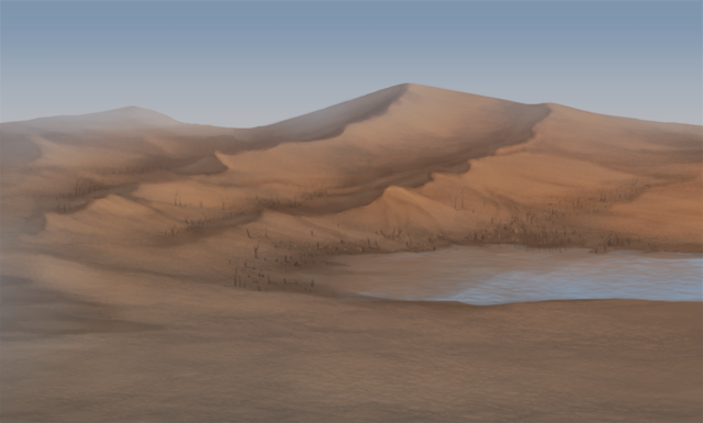 A large sand dune is taking over a sad-looking waterhole.