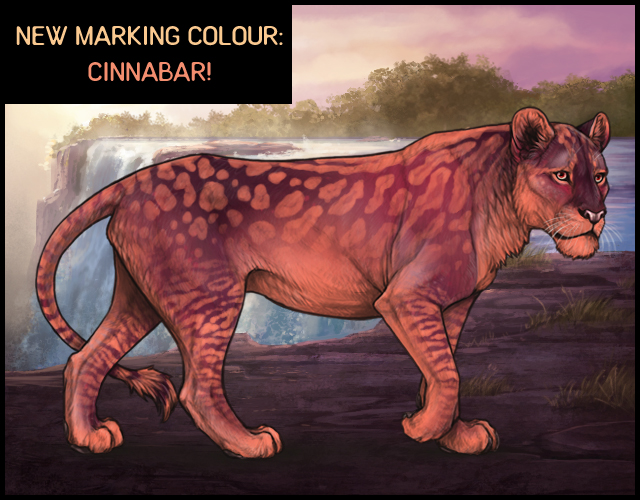 A mockup of a Rough Ruby lioness with various Cinnabar markings.