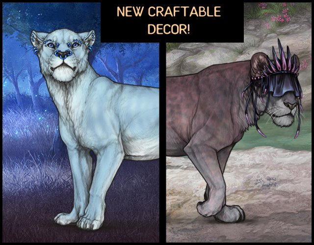 A mockup of two decorated lionesses adorned in the newest piercings and crown decors.