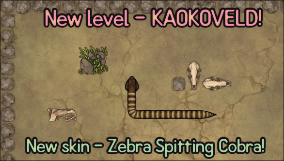 Image is of the new Kaokoveld level for Reptile Roundup, containing the new Zebra Spitting Cobra skin.