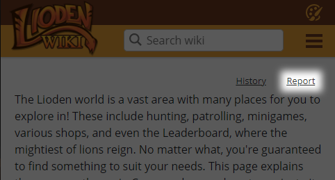 A screenshot of the official Lioden Wiki. The option to report a page is highlighted.