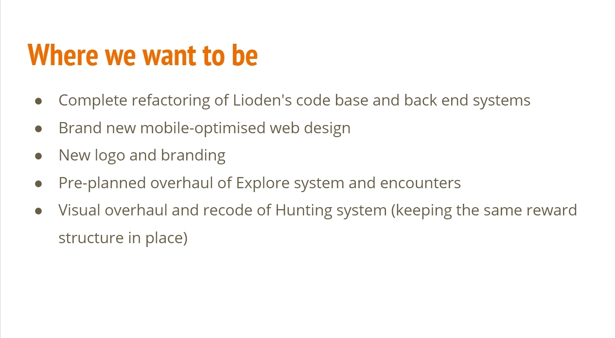 Where we want to be: Complete refactoring of Lioden's code base and back-end systems.  Brand new mobile-optimised web design.  New logo and branding.  Pre-planned overhaul of Explore system and encounters.  Visual overhaul and recode of Hunting system, keeping the same reward structure in place.